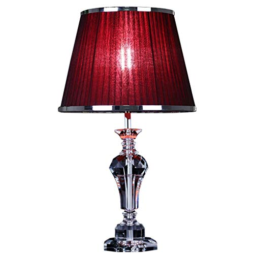 KJZhu Lampara de mesa para sala de matrimonio, sala de estar de cristal, sala de estudio, mesa de centro, mesa de centro, lampara de mesa roja, 36 * 36 * 58 cm Lampara dormitorio (Size : 36*36*58CM)