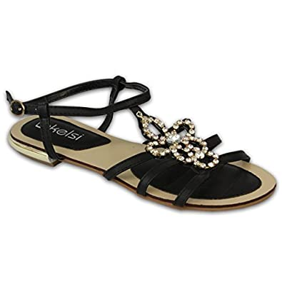 Kelsi Damen Strasssteine Sandale Offenen Zehen Schuhe