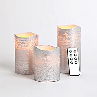 Amazon.com : Set of 3 Distressed Silver Wax Flameless LED Battery ...