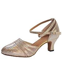 FengGa Women Rhinestone Dance Shoes Ballroom Latin Salsa Performance Dance Dancing Shoes Sequins Social Dance Shoe
