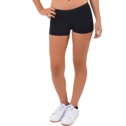 Stretch is Comfort Women's Nylon Spandex Stretch Booty Shorts Black (Lycra Bootie)