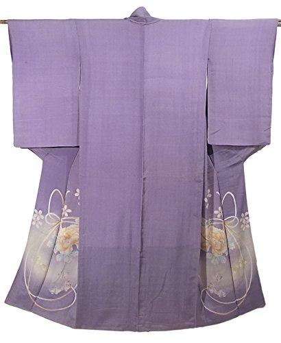 最大化する十分です薬を飲むアンティーク 着物 牡丹の花 組紐文様に桜 正絹 袷 裄62.5cm 身丈150cm