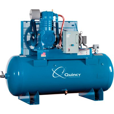 Quincy QT-10 Splash Lubricated Air Compressor with MAX Package - 10 HP, 208 Volt, 3 Phase, 120 Gallon Horizontal, Model# P2103DS12HCB20M