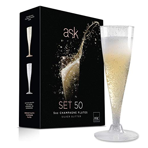 50 Silver Glitter Plastic Champagne Flutes | 5 Oz Hard Plastic Toasting Clear Glasses | Disposable perfect for Wedding Party Cocktail Cups ()