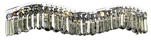 Dakota Chrome Traditional 6-Light Vanity Fixture Heirloom Handcut Crystal in Golden Teak -1736W30C-GT-RC--30