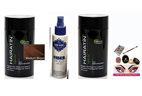Bundle 4 Items: Hairatin 2x Hair Fibers 28 gr Medium Brown +Hold Spray + ITAY Brow Building Fiber kit matching color (Medium Brown brown ) by HAIRATIN