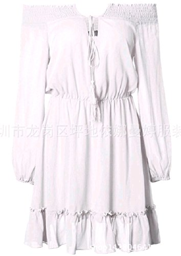 Women Solid Line Loose Dress Off Mini Gown Ball White A Shoulder Stylish Colored Coolred Chiffon qxaUUd