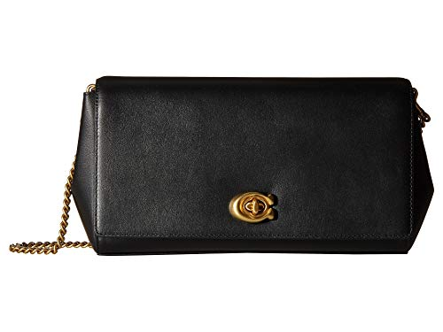 COACH Women's Smooth Leather Turnlock Clutch with Chain B4/Black One Size
