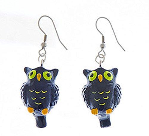 Eeery-Sistable Earrings: Black Owl - By Ganz ()