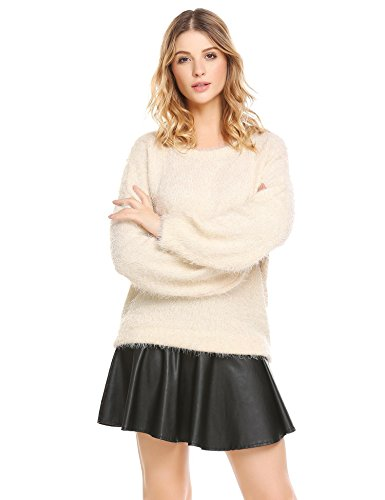 Hufcor Women's Casual Crew Neck Striped Soft Mohair Sweater (Beige Mohair)