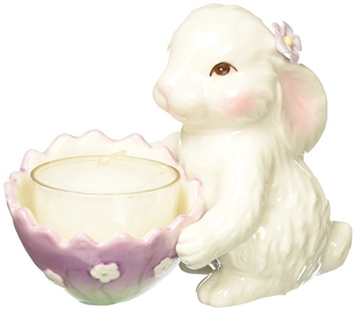 Cosmos 10596 Multicolored Fine Porcelain Decorative Bunny Tea Light Holder, 3-3/4-Inch ()