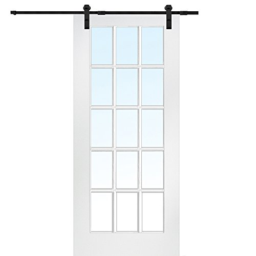 National Door Company Z009554 Primed MDF 15 Lite True Divided Clear Glass 32'' x 80'', Barn Door Unit by National Door Company