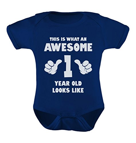 Tstars TeeStars - This Is What an Awesome One Year Old Looks Like Funny Baby Bodysuit 18M Navy