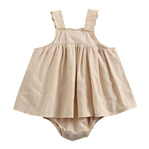 Huifa Toddler Girl Sleeveless Strap Solid Romper Infant Dress Clothing (Brown,6-9 Months/70) ()