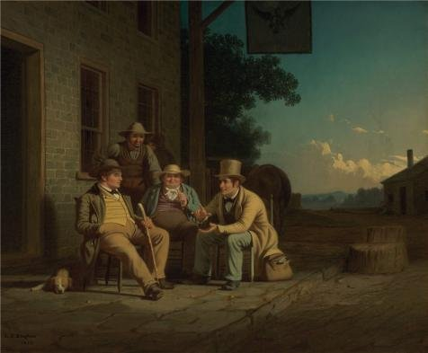 'George Caleb Bingham,Canvassing For A Vote,1852' Oil Painting, 12x15 Inch / 30x37 (Style Vinyl Tab Out Guides)
