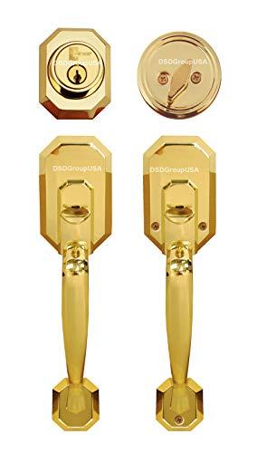 (Constructor Cerberus Entry Door Lock Handleset with Deadbolt Single Cylinder Polished Brass Finish)