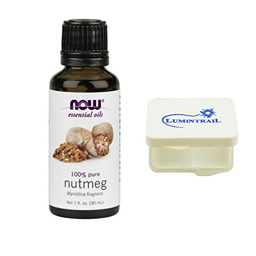 Price comparison product image NOW Foods Essential Nutmeg Oil Pure Myristica Fragrans 1 oz Bundle with a Lumintrail Pill Case