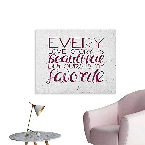 Anzhutwelve Romantic Wallpaper Romance Quote Our Story is My Favorite Love and Adoration Theme Calligraphic Poster Print Maroon White W36 xL32 -