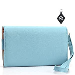 Quaroth Motorola RAZR HD Wallet Baby Blue Clutch Carrying Cover Case Pouch + NuVur Keychain (ESMXWLB1)