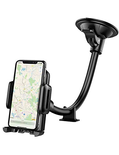 Car Phone Holder , Mpow Windscreen Car Mount Grip Flex Universal Long Arm Windshield Car Cradle with Extra Dashboard Base for iPhone 11 Pro Max/11 Pro/11/Xs Max/Xs/Xr/X/8/7, Samsung S10/S9 Note LG,etc