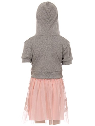 BNY Corner Big Girl 3 Pieces Set Jacket Neckband Top Mesh Tulle Casual Girl Dress Grey 10 JKS 2124 by BNY Corner (Image #1)