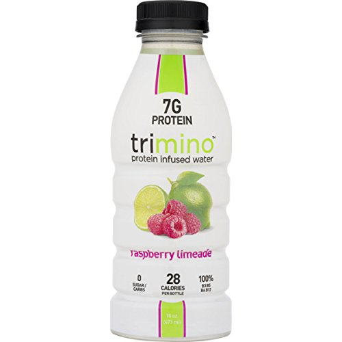 Trimino Protein Infused Water, All-Natural, Raspberry Limeade, 16 Ounce (Pack of 12)