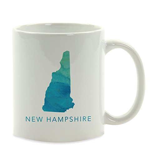Andaz Press 11oz. US State Coffee Mug Gift, Aqua Blue Watercolor, New Hampshire, 1-Pack