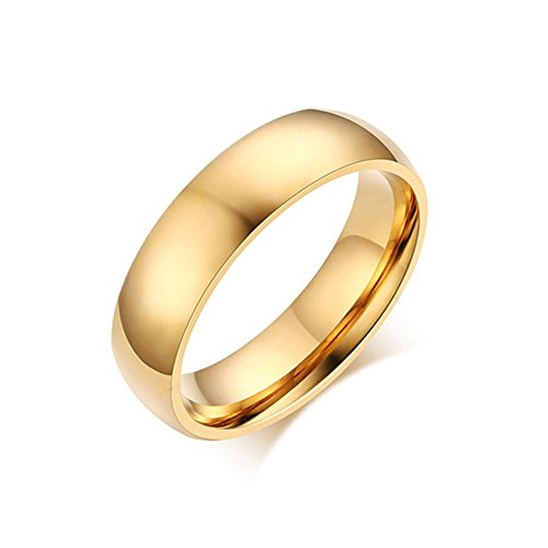 Zealmer Men's Gold Band Ring Simple Wedding Ring in Jewelry Box High Polished Father's Day Gift 11 (Stainless Steel Polished Gift Box)