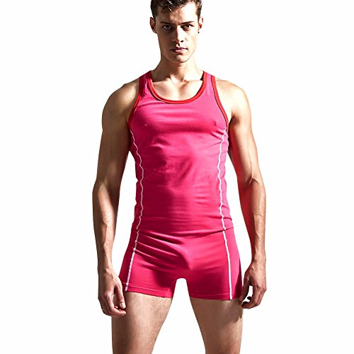 FEESHOW Men's Cotton Bodysuit Leotard Sports Underwear Tights Singlet Rose Large(Chest - Int Rose