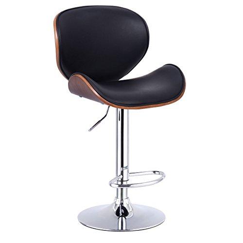 1PC Adjustable Swivel Bentwood Bar Stool PU Leather Modern Barstool Pub Chair