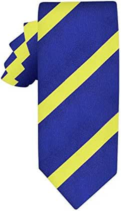 Navy Yellow Stripe Skinny Tie | Groomsmen Ties | Wedding Neckties | 5 Yr Warranty |