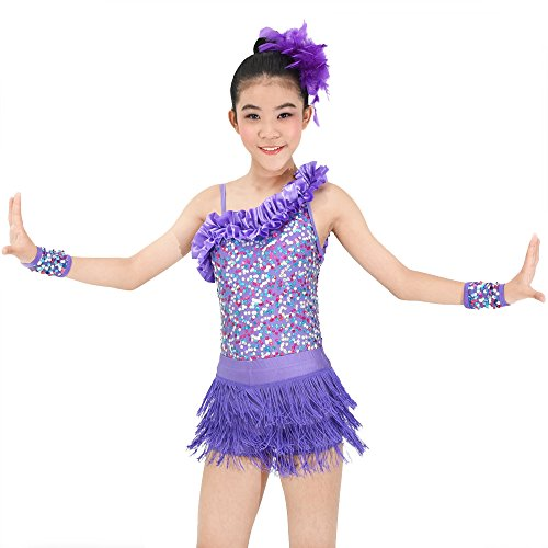MiDee Dance Costume Latin Dress 2 Pieces Asymmetrical Shoulder Sequins Outfits (MC, (Two Piece Dance Competition Costumes)
