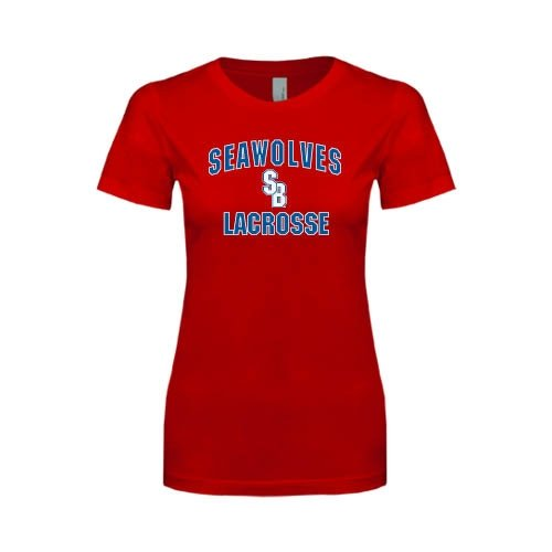 Stony Brook Next Level Ladies SoftStyle Junior Fitted Red Tee 'Lacrosse'