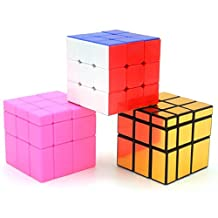 Heddi Magic Speed Cube Puzzle Stickerless Mirror Cubes -Glod/Pink 3*3*3 Brain Teaser Puzzle Cube Bundle Box Pack