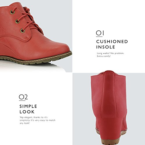 Fashion High Red DailyShoes Ankle Women's Round Wedge Pu Bootie Oxford Toe up 5wxSYT