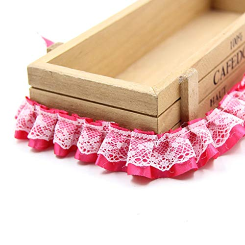 Yalulu 10 Yard/Lot 1 Inch Ruffled Chiffon Tape Ribbon Pleated Chiffon Lace Trim DIY Craft Sewing Material Headwear Accessories Supply (Rose Red)