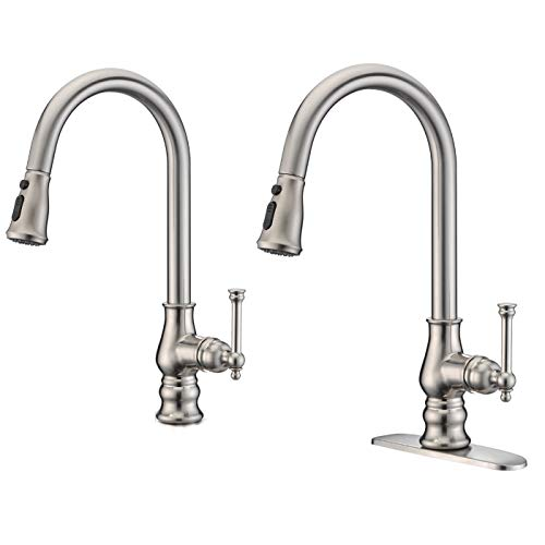 Kitchen Faucet Brushed Nickel with Pull Out Sprayer Delle Rosa Single Handle High Arc Swivel Brass Pre-rinse Kitchen Sink Faucets with Deck Plate
