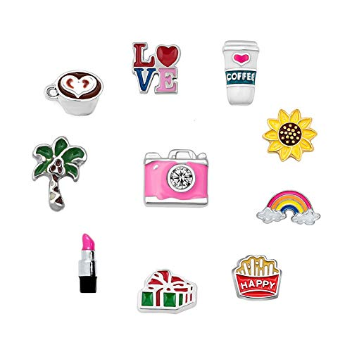 10 Pcs Leisurely Holiday Coconut Coffee Floating Charms for Synthetic Glass Living Memory Lockets Necklace & Bracelets (Owl For Origami Holiday Charms)