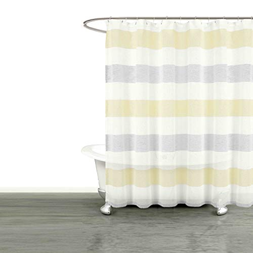 Yellow Stripe Shower Curtain - Bathroom and More Collection Sheer Fabric Shower Curtain White, Yellow and Gray Cabana Stripe Design (Shower Curtain 72