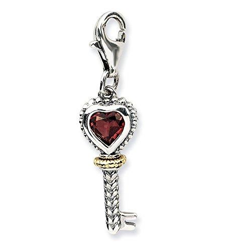 Sterling Silver w/14k Garnet Antiqued Key w/Lobster Clasp Charm ()