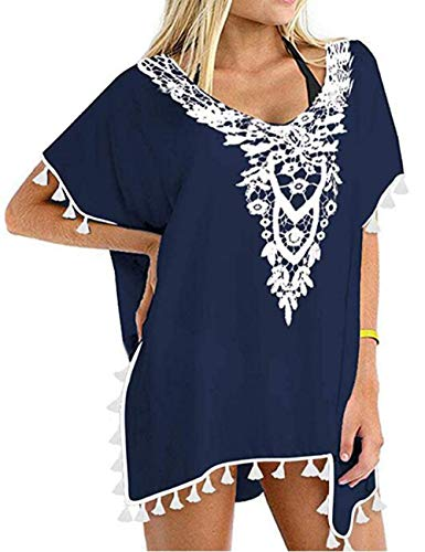 (Floral Lace Swimsuit Coverup Dress Split Side Kaftan for Women Beach Holiday Cover Up(Navy Blue,L))