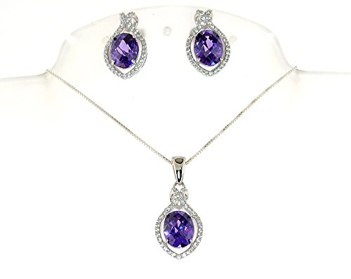 Sterling Silver Simulated Diamond Oval Shape Necklace Earing Set (Purple) 16x12mm Sterling Silver Oval Box