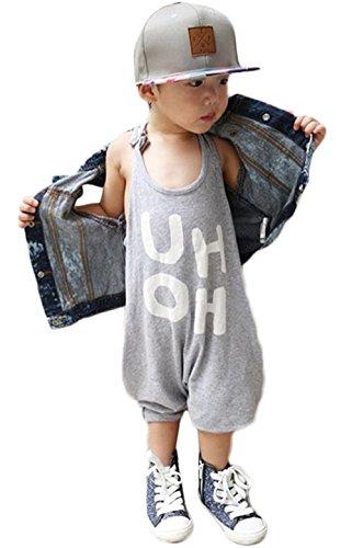 BANGELY Kids Boy Girl Sleeveless Letters Print Romper Harem Pants Jumpsuit Playsuit