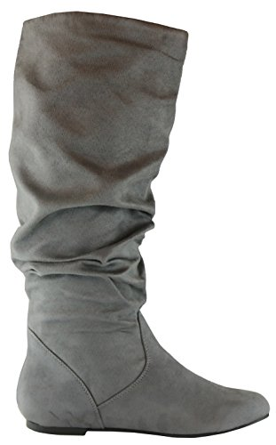 Cambridge Select Damen Slouchy Round Toe Kniehoher, flacher Stiefel Holzkohle Imsu