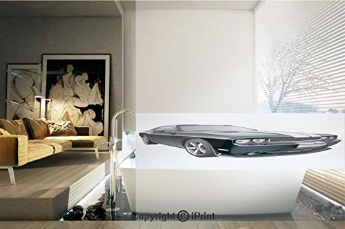 Decorative Privacy Window Film/Black Modern Pony Car with White Racing Stripes Coupe Motorized Sport Dragster/No-Glue Self Static Cling for Home Bedroom Bathroom Kitchen Office Decor Black Grey White