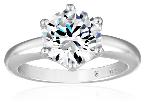 Platinum-Plated Sterling Silver Solitaire Ring set with Round Swarovski Zirconia (3 cttw), Size -