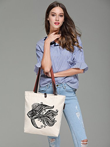 So'each Women's Goldfish Graphic Pattern Canvas Handbag Tote Shoulder Bag