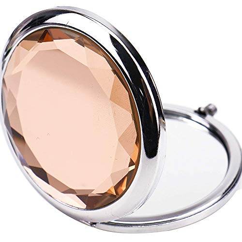 Double Compact Cosmetic Makeup Round Pocket Purse Magnification Jewel Mirror, Beautiful, Pretty,Compact, Portable Cosmetic Mirror Travel Mirror,Orange( Come with Pink box)