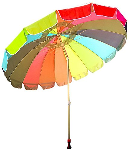 Party With Pride Giant 8' Rainbow Beach Umbrella / With UV Protection / Includes Large Sand Anchor / For Sun And Outdoor / Windproof (Rainbow)