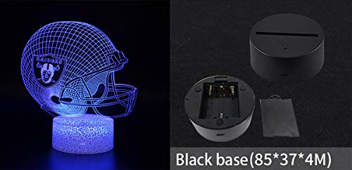 AIMOOW Oakland Raider's Styling Creative Night Light 3D Touch USB Desk Lamp Remote Control 7 Colors Optical Acrylic Sheet Suitable for A Birthday Gift for Boys Or Girls,Blackbase